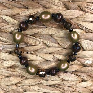 Chunky brown bracelet handmade